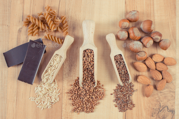 Natural ingredients as source magnesium, other minerals and dietary fiber. Healthy nutrition - Stock Photo - Images