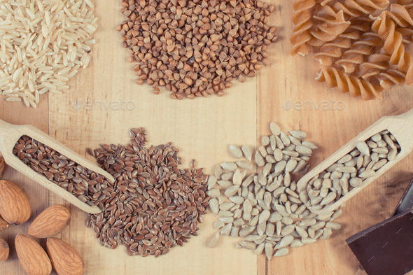 Healthy food containing magnesium, other vitamins, minerals and dietary fiber - Stock Photo - Images