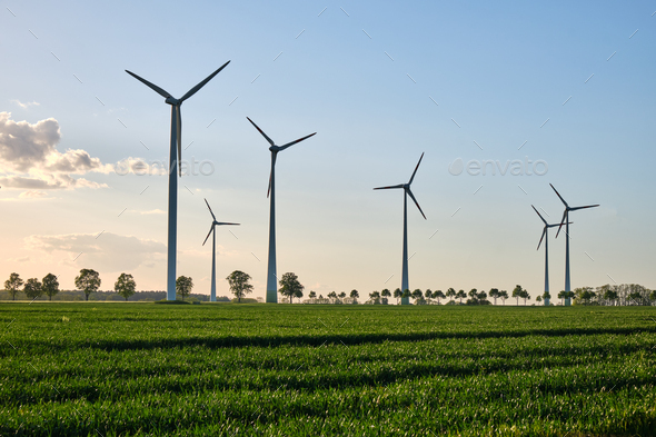 Wind turbines in a grain field with back light - Stock Photo - Images