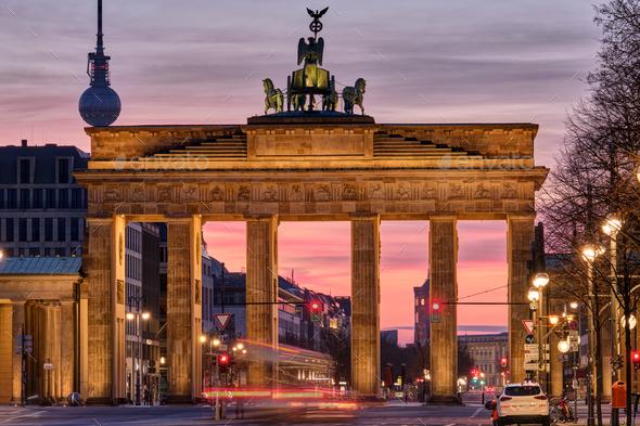 The famous Brandenburg Gate before sunrise - Stock Photo - Images