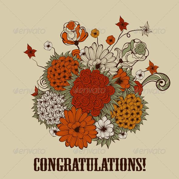 Vector Greeting Card with Bouquet of Bizarre Flowe - Decorative Symbols Decorative