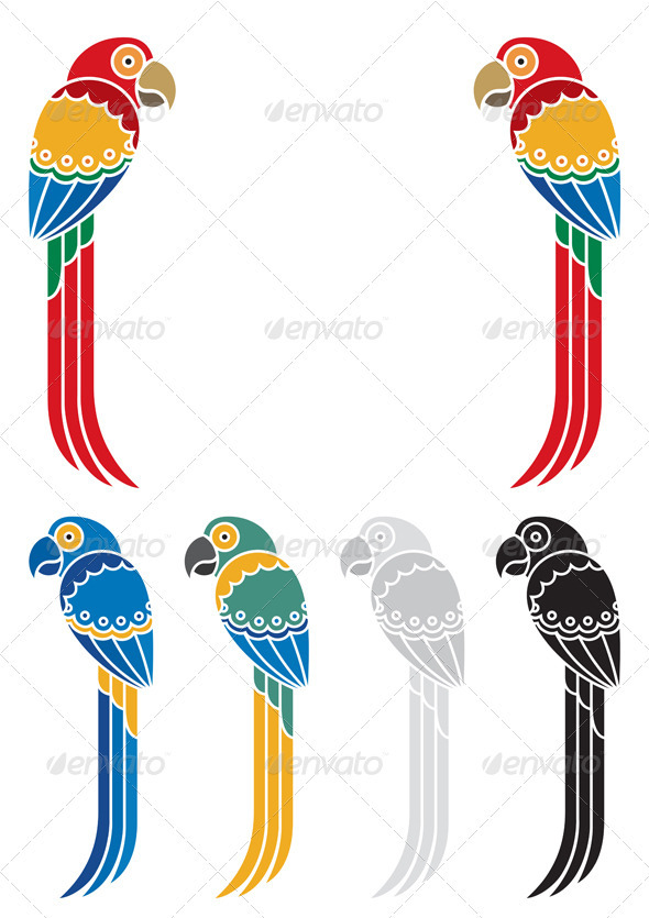 Parrots - Decorative Symbols Decorative