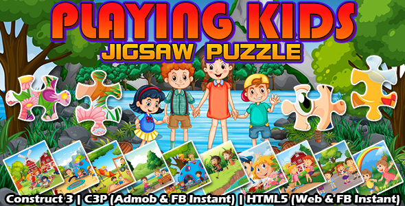 Playing Kids Jigsaw Puzzle Game (Construct 3   C3P   HTML5) Admob and FB Instant Ready