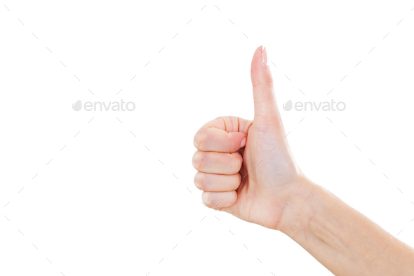 Good quality! Close-up of female hand with thumb up isolated on white - Stock Photo - Images