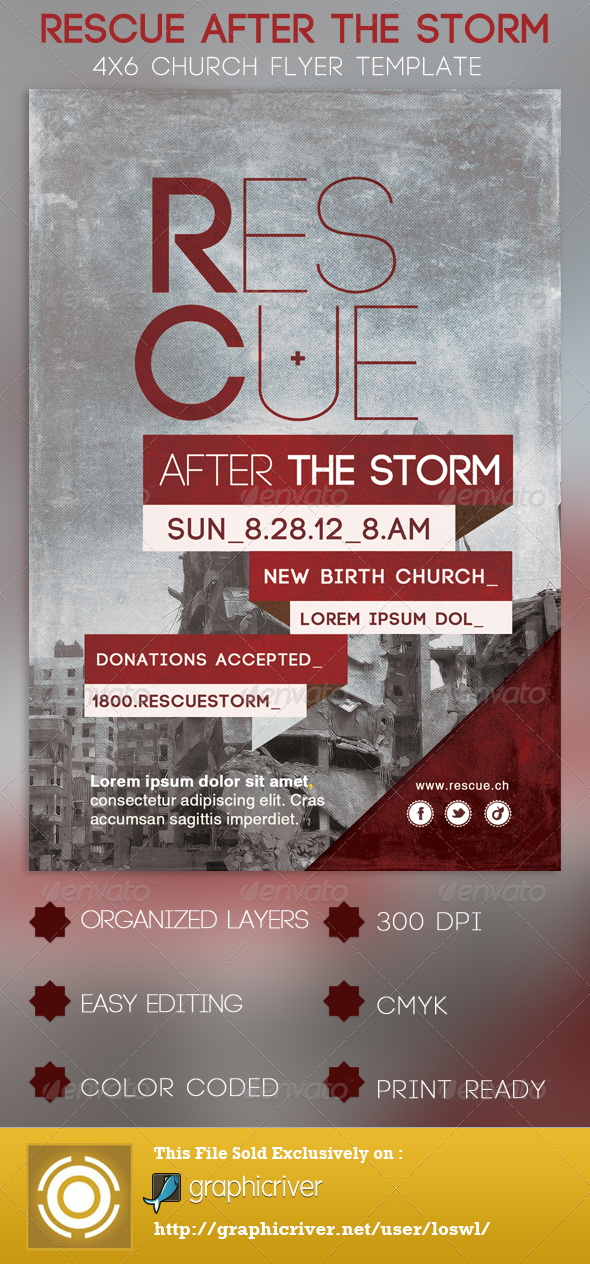Rescue After The Storm Church Flyer Template - Church Flyers