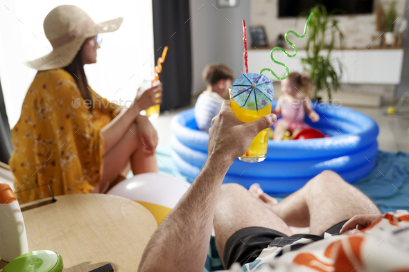 Close up of fun on the beach at home - Stock Photo - Images