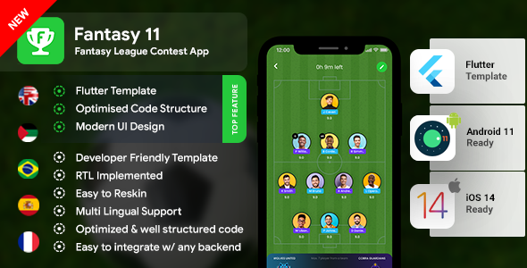 Fantasy League Contest Sports Android App Template+ iOS App Template | Flutter 2 | Fantasy 11