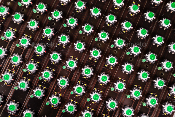 Panel of LED light indicators is in the production - Stock Photo - Images