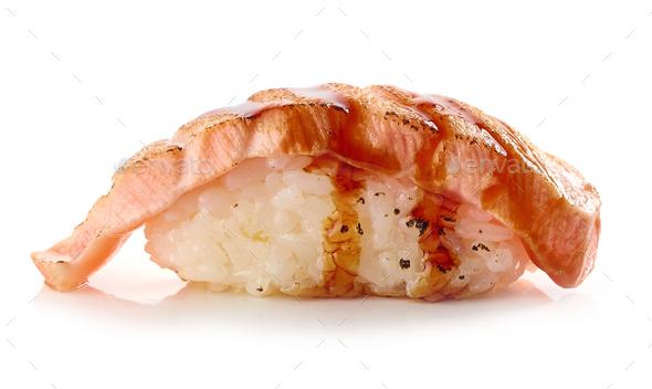 burnt salmon sushi - Stock Photo - Images