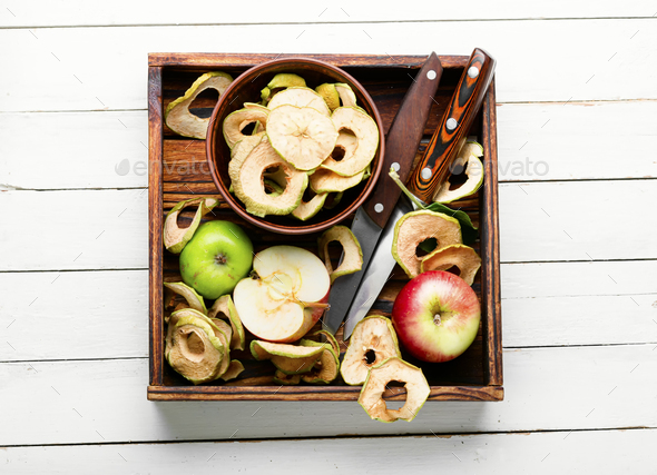 Apple chips with fresh apples - Stock Photo - Images