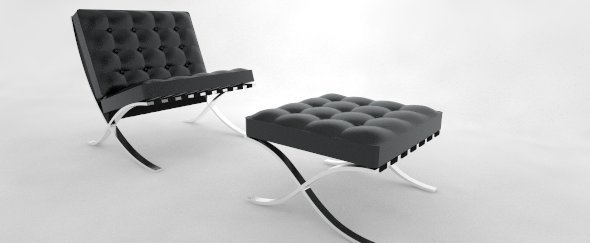 Barcelona Chair and Ottoman - 3DOcean Item for Sale