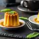 Sweet vanilla pudding. Sweet dessert with caramel topping. - PhotoDune Item for Sale