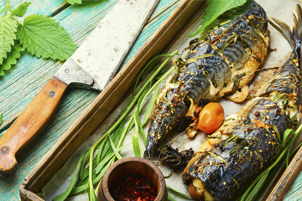 Baked mackerel with herbs - Stock Photo - Images