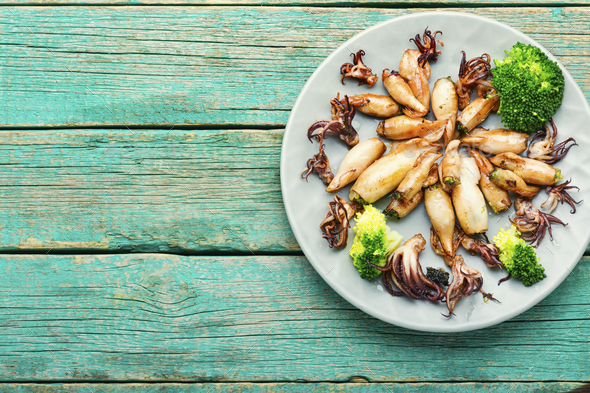 Baked squid with vegetables - Stock Photo - Images