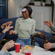 Group of multiethnic friends with sticky notes putting on forehead - PhotoDune Item for Sale