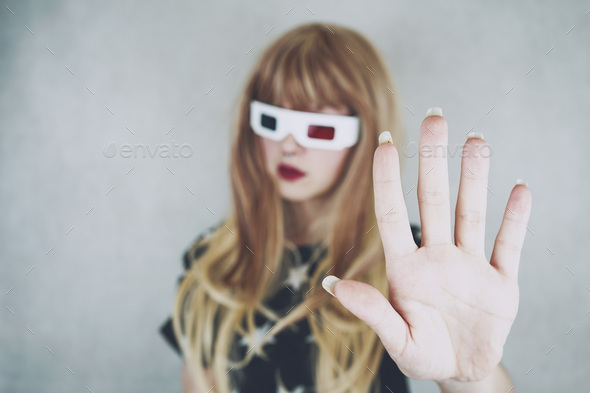 Young woman wearing vintage 3D glasses - Stock Photo - Images