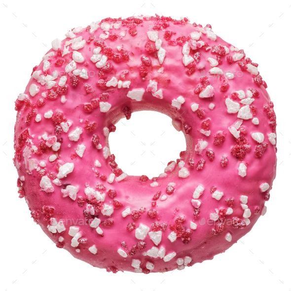 Fresh pink strawberry doughnut - Stock Photo - Images