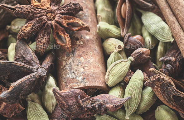 Close up picture of cardamom pods, anise and cinnamon sticks. - Stock Photo - Images