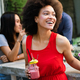 Young african woman enjoy healthy vegetarian smoothie for weight loss - PhotoDune Item for Sale