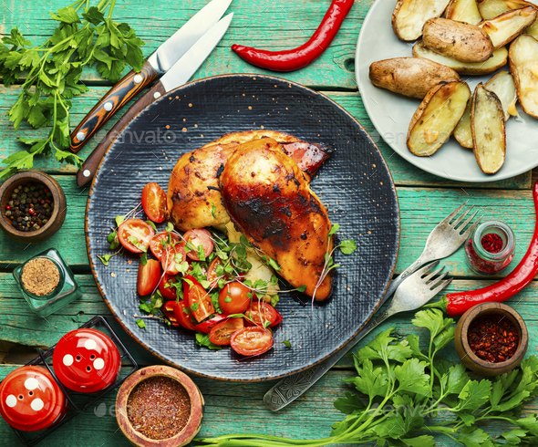 Grilled chicken with vegetables - Stock Photo - Images