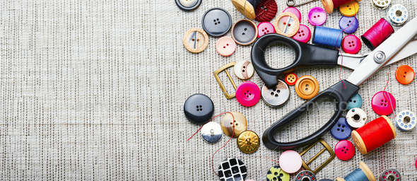 Set sewing accessories,flat lay - Stock Photo - Images