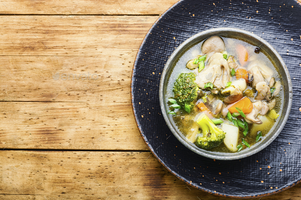 Cream soup with broccoli and mushrooms - Stock Photo - Images