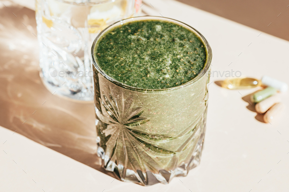 Green Smoothie, Lemon Water and Vitamins - Stock Photo - Images