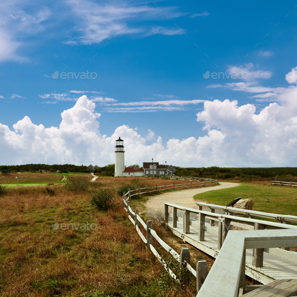 Highland Lighthouse at Cape Cod, built in 1797 - Stock Photo - Images