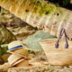 Beach bag and hats by palm tree - PhotoDune Item for Sale