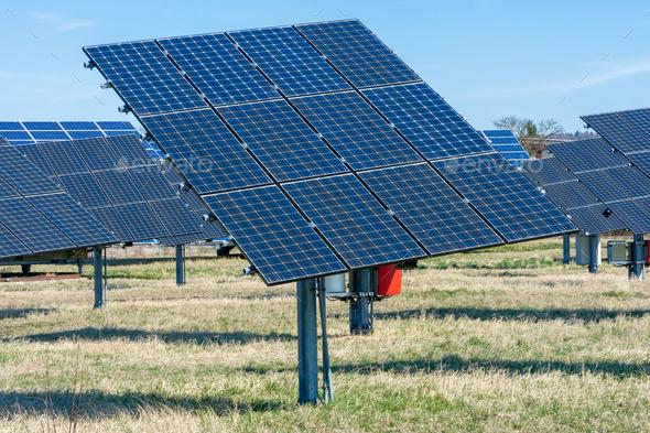 Alternative Energy Creation with Solar Panels - Stock Photo - Images