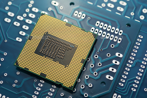 CPU on printed circuit board pcb. - Stock Photo - Images