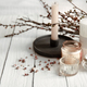 Close-up of beautiful candles with spring blooming twigs. - PhotoDune Item for Sale