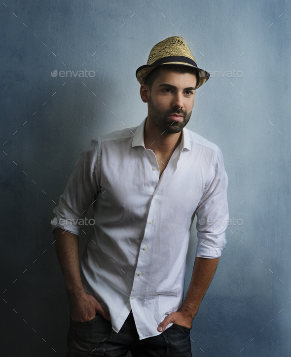 Man with hat - Stock Photo - Images