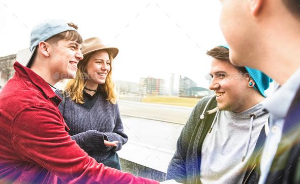 Best friends millennials having genuine fun at urban area in Berlin - Stock Photo - Images