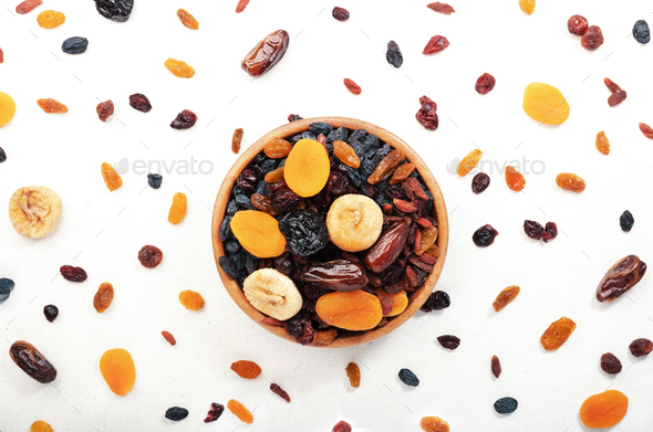 natural sun dried fruits mix in bowl - Stock Photo - Images
