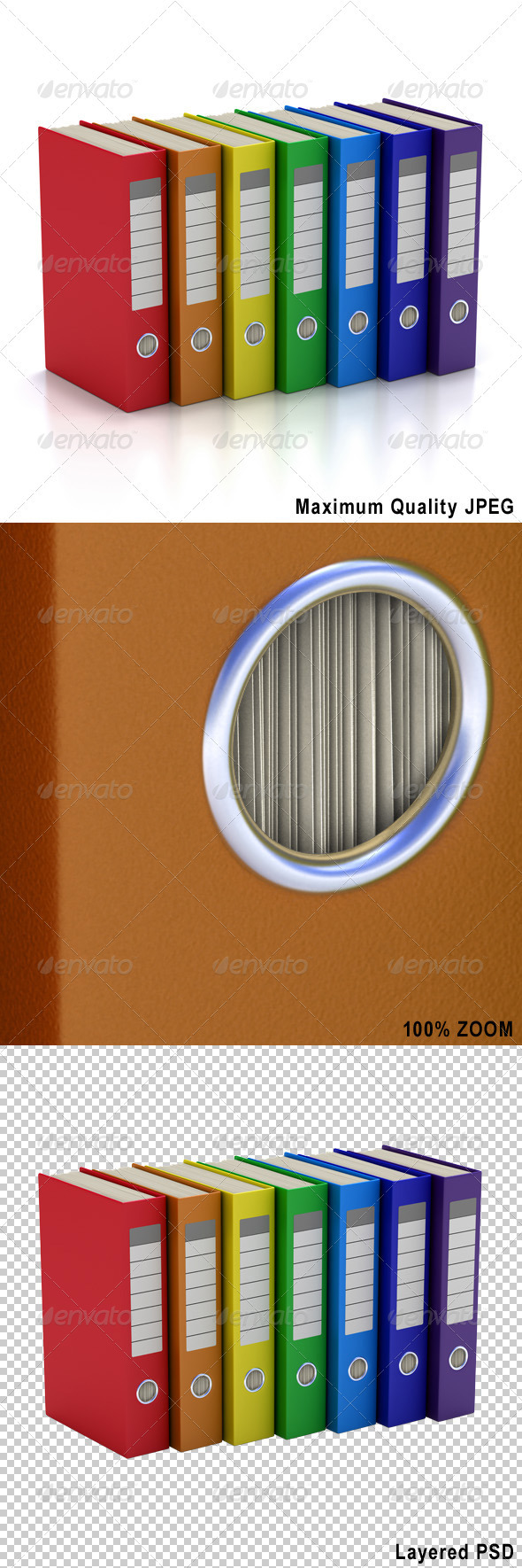 Seven Colorful File Folders - Objects 3D Renders