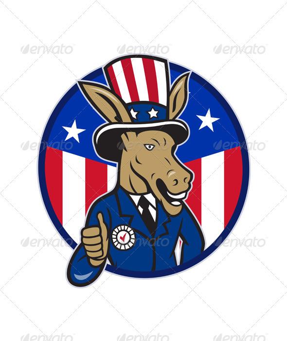 Democrat Donkey Mascot Thumbs Up Flag - Animals Characters