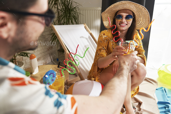 Happy couple vacationing at home - Stock Photo - Images