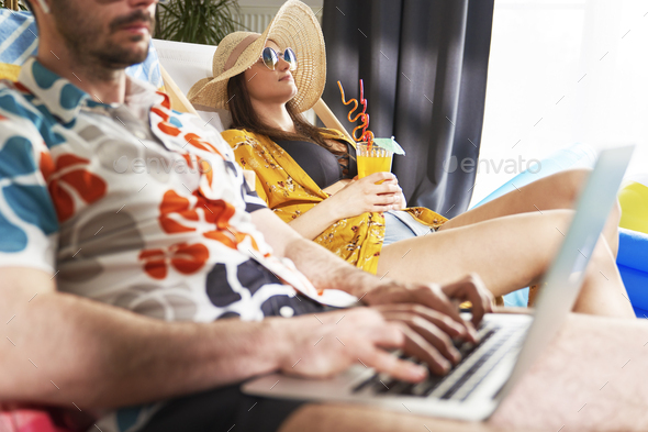 Couple on vacation at home - Stock Photo - Images