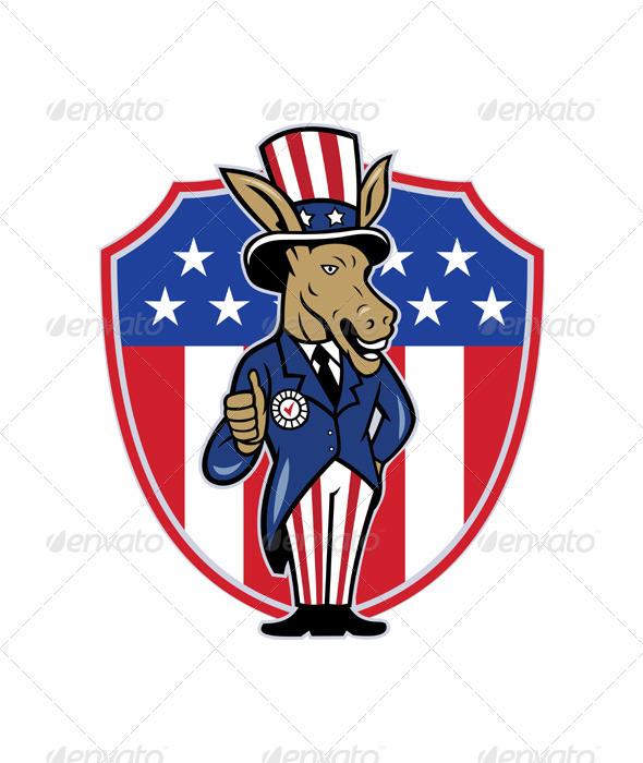 Democrat Donkey Mascot Thumbs Up - Animals Characters