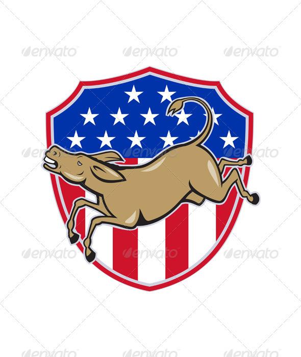 Democrat Donkey Mascot American Flag  - Animals Characters