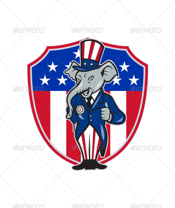 Republican Elephant Mascot Thumbs Up Shield - Animals Characters