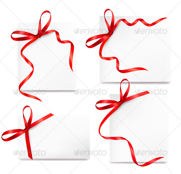 Set of card note with red gift bows with ribbons - Decorative Symbols Decorative