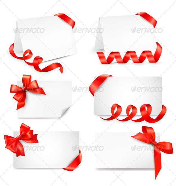 Set of card notes with red gift bows with ribbons  - Borders Decorative