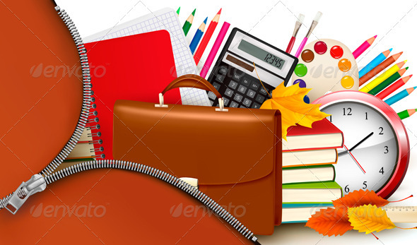 Back to school  Background with school supplies  - Concepts Business