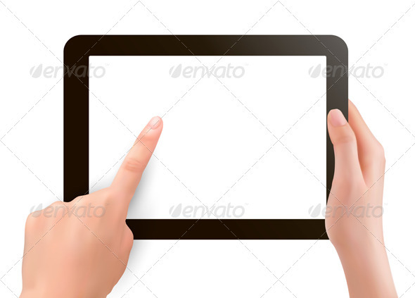 Hands holding digital tablet pc  Vector illustrati - Concepts Business