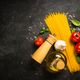 Pasta, olive oil, spices, basil and fresh tomatoes - PhotoDune Item for Sale