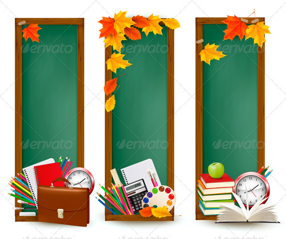 Back to school Three banners with school supplies  - Borders Decorative