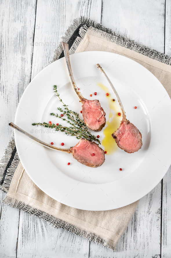 Rack of lamb with thyme - Stock Photo - Images