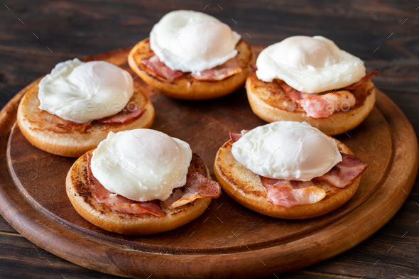Eggs Benedict with bacon - Stock Photo - Images